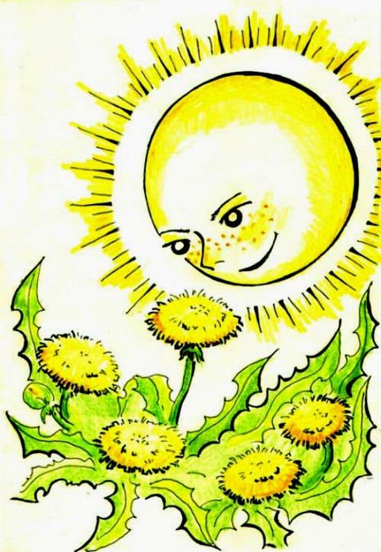Солнышко и одуванчик
