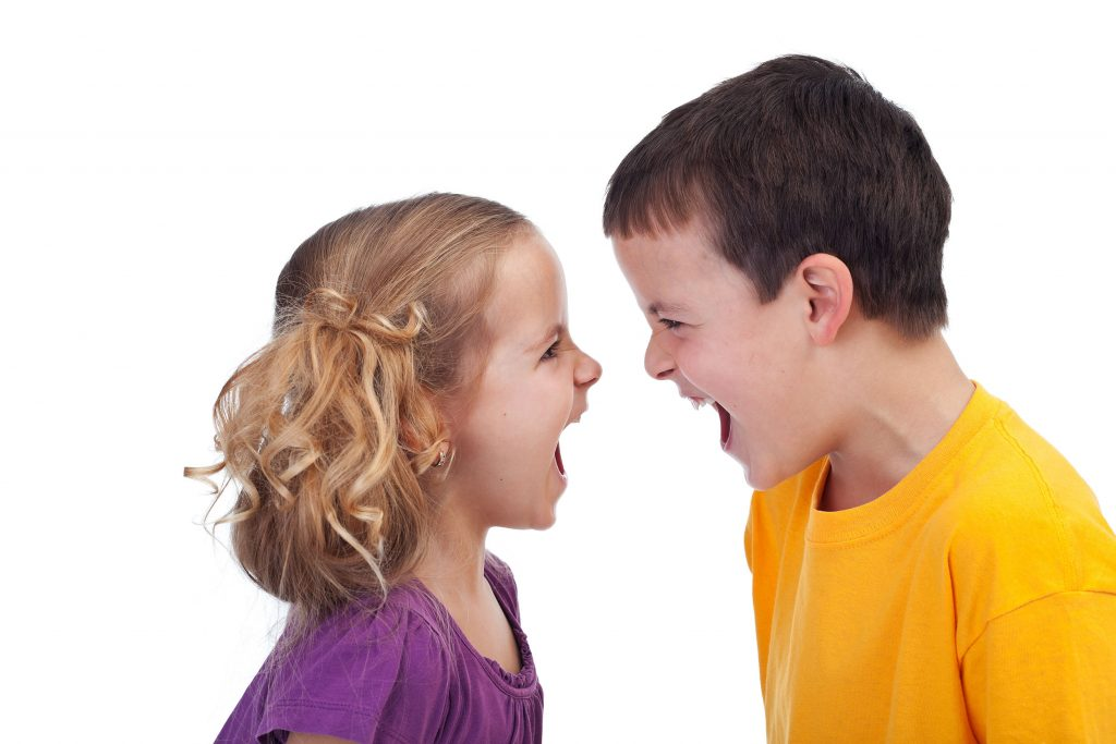 Мальчик и девочка ругаются