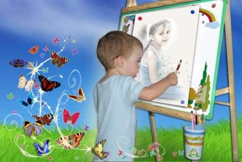 учим ребенка рисовать у мольберта