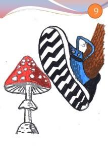 Наступает на гриб