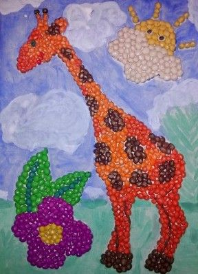 Пластилинография Картина с жирафом