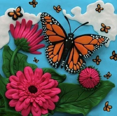 Пластилиновая картина Бабочка