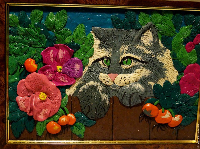 Пластилиновая картина Кот