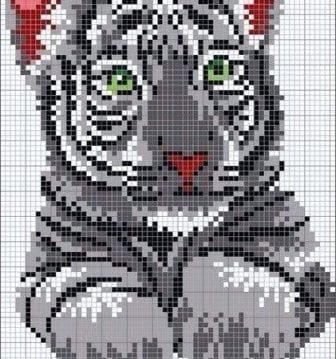 Тигр по мелким клеткам